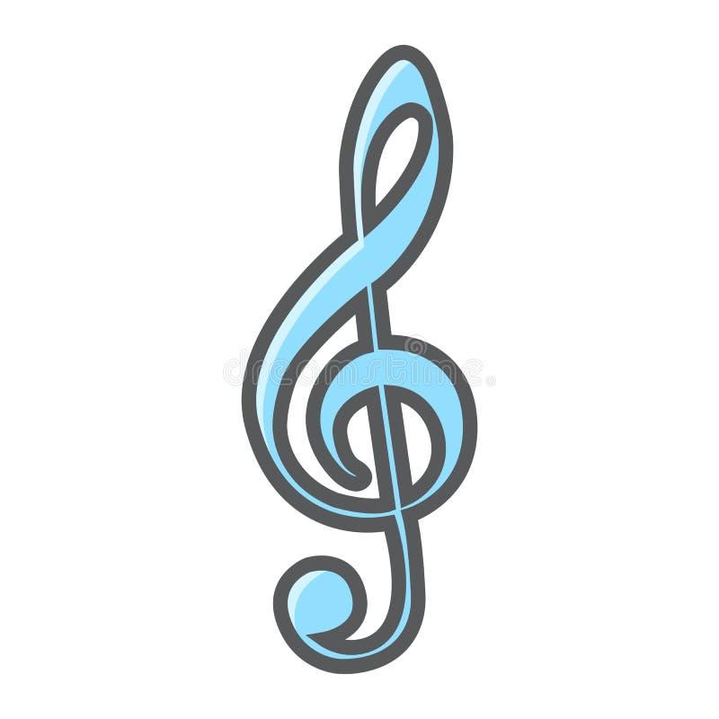 Violinschlüssel gefüllte Entwurfsikone, Musik vektor abbildung