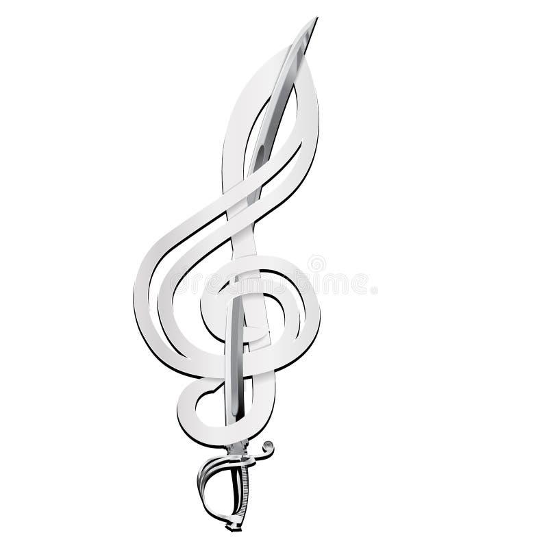 Violinschlüssel mit einer Klinge stock abbildung
