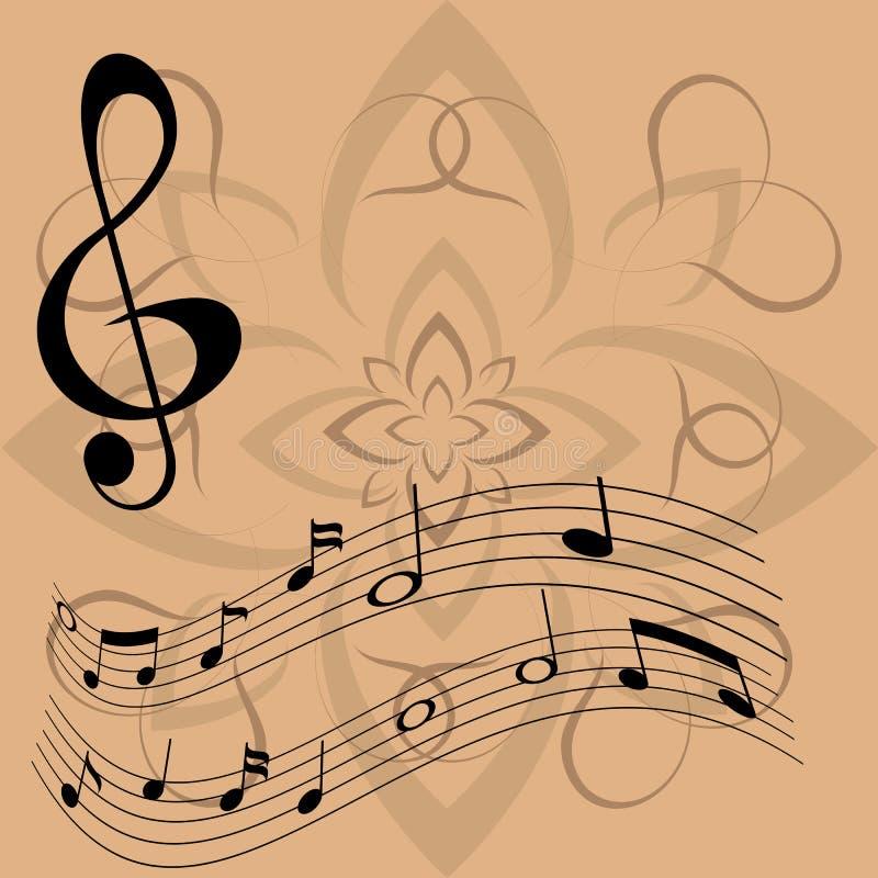 Violinschlüssel und sich hin- und herbewegende Anmerkungen stockfoto