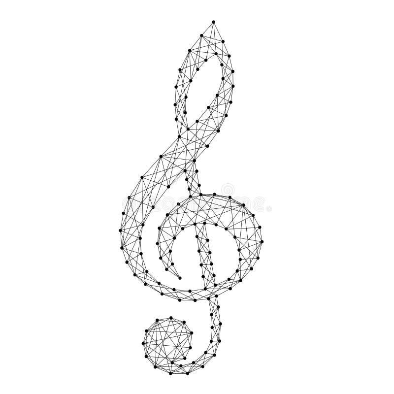 Violinschlüsselmusiksymbol vom abstrakten futuristischen polygonalen blac lizenzfreie abbildung