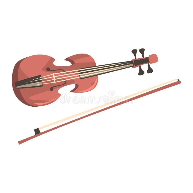 Violon en bois avec l'archet, illustration de vecteur de bande dessinée d'instrument de musique illustration libre de droits