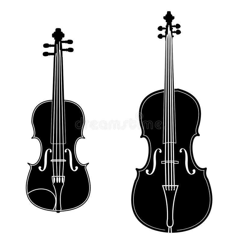 Violon et violoncelle illustration de vecteur