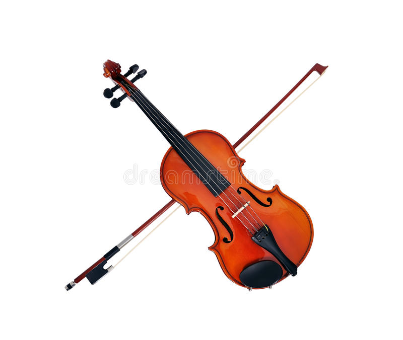 Violon with fiddlestick. On a white background royalty free stock images