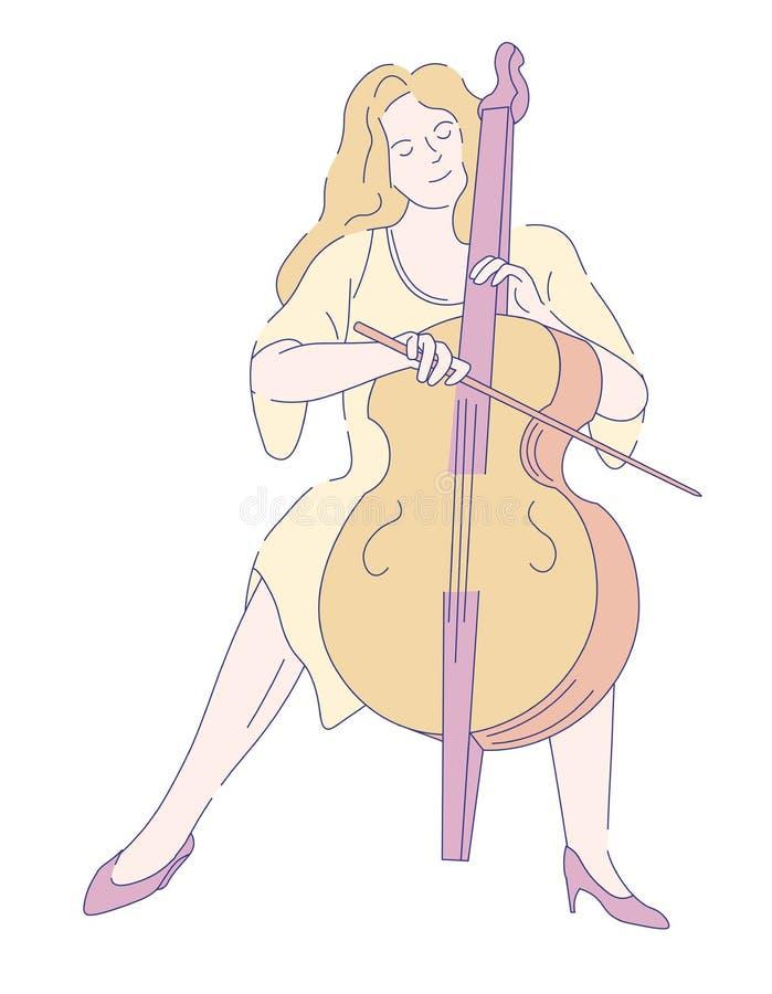 Violoncelista fêmea no desempenho clássico da música do vestido ilustração stock