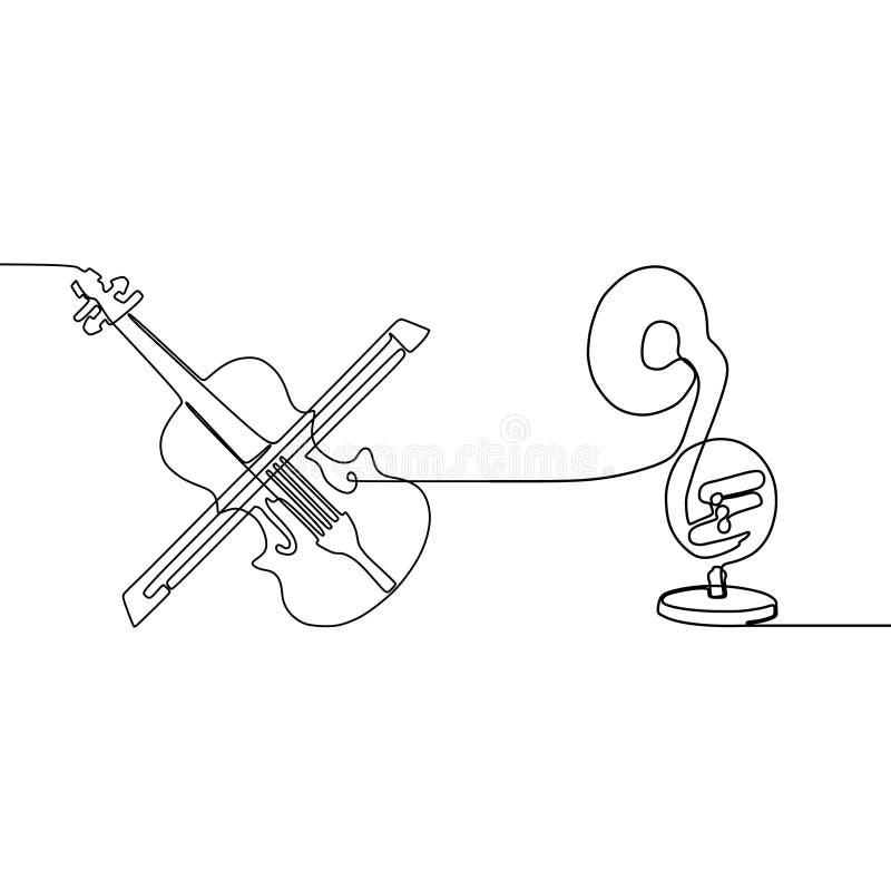 violoncell- och för trombon en linje fortlöpande linje traditionell uppsättning för musikinstrumentvektorkontur för musikaffischt vektor illustrationer