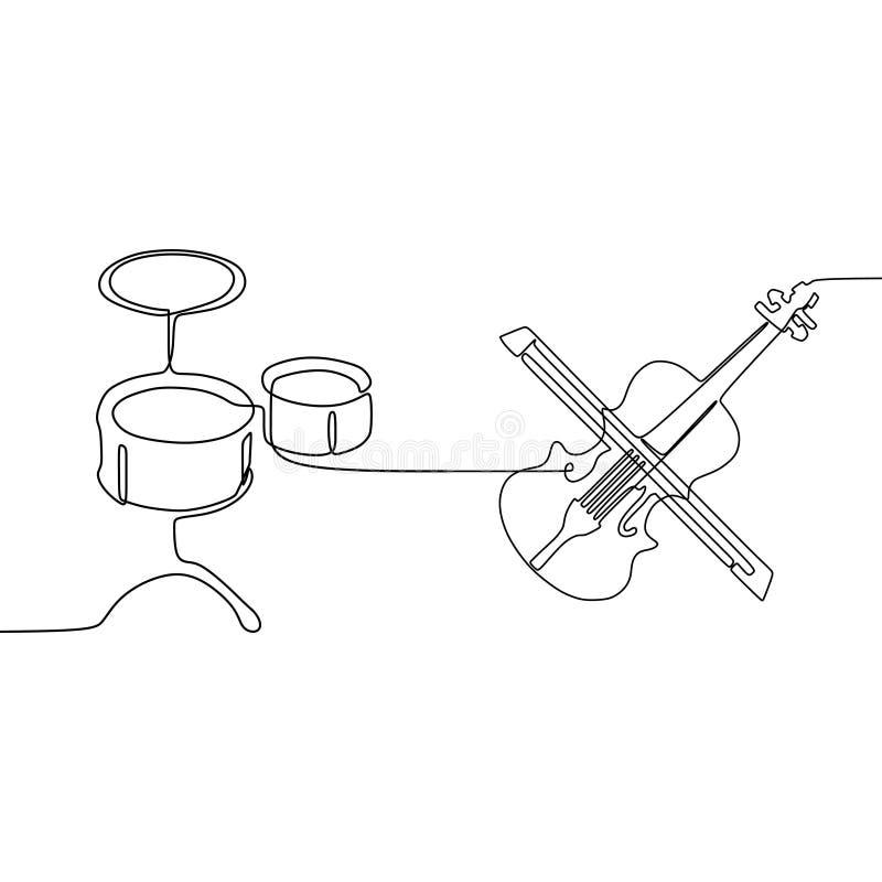 violoncell och liten linje fortlöpande linje traditionell uppsättning för vals en för musikinstrumentvektorkontur för musikaffisc vektor illustrationer