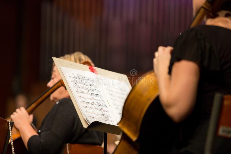 Violoncellista che gioca nell'orchestra fotografie stock