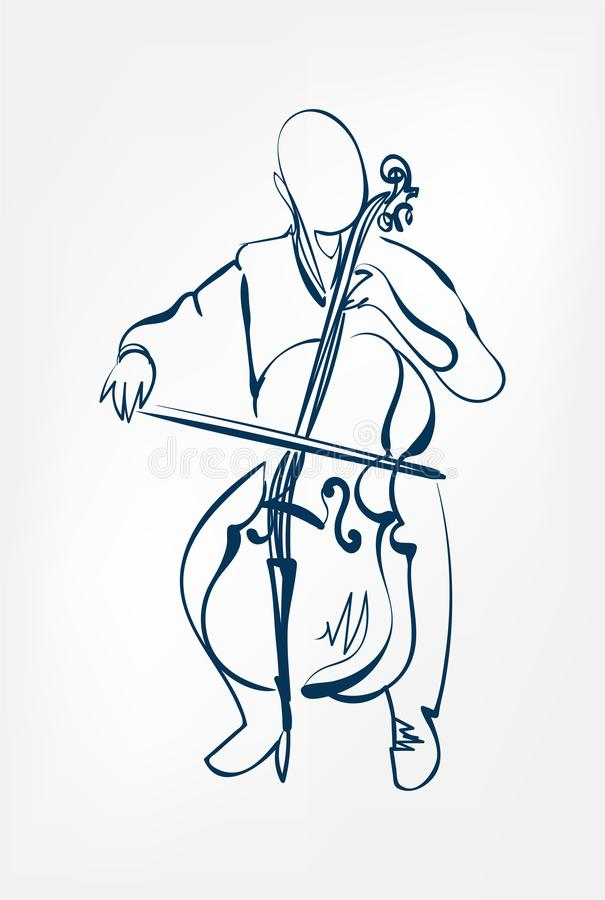 Violoncellmannen skissar linjen vektordesignöversikt vektor illustrationer