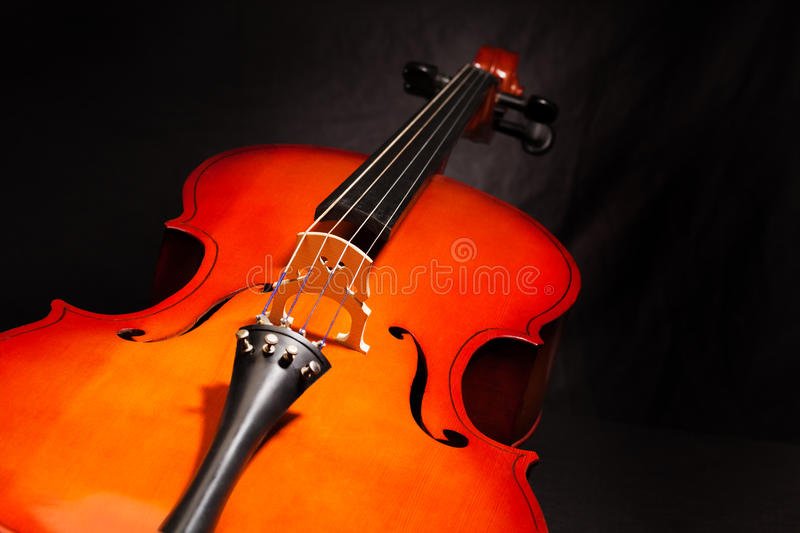 Violoncello body view on the black background. Violoncello body view in vertical position on the black background royalty free stock images