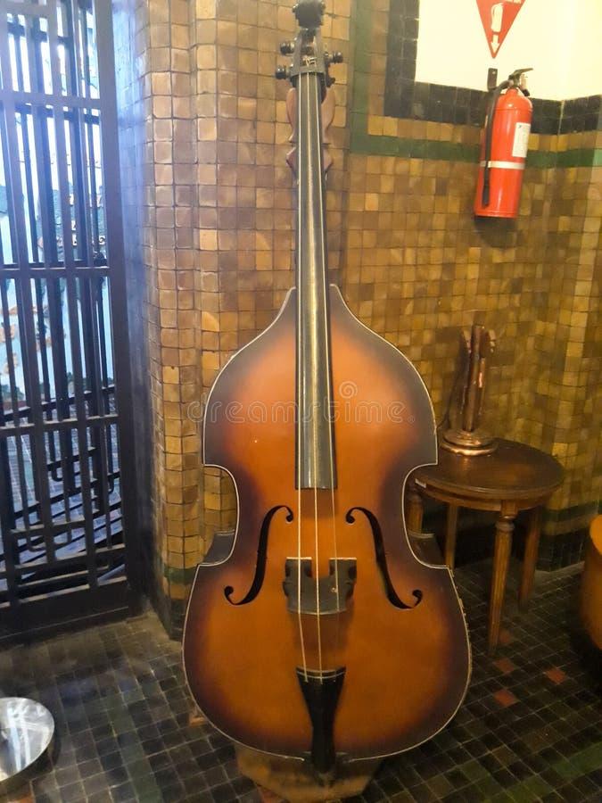 Violoncello dello strumento musicale nel fondo d'annata Natura morta in museo Mandiri fotografia stock