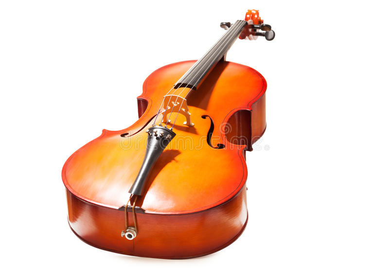 Violoncello in full length on the white background. Violoncello view in full length on the white background royalty free stock images