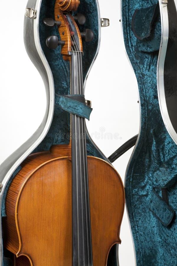 Violoncello In Un Caso Fotografie Stock