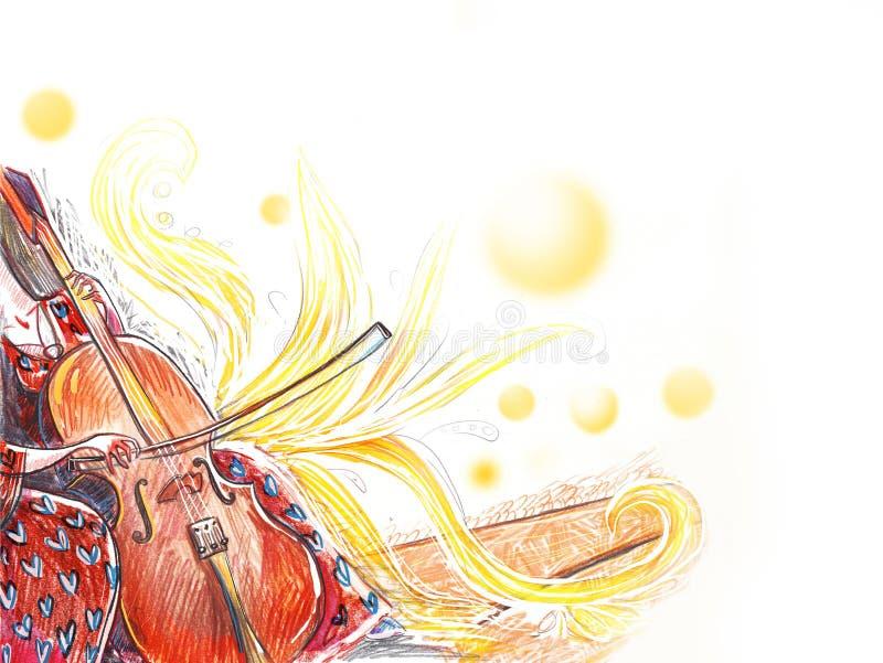Violoncellorkestermusikinstrument vektor illustrationer
