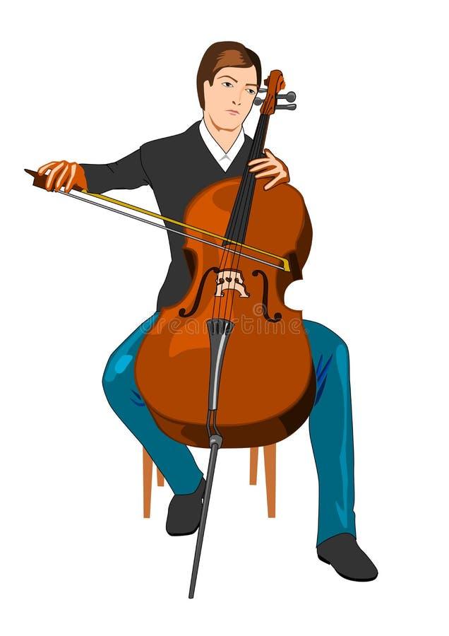 violoncellspelare arkivbild
