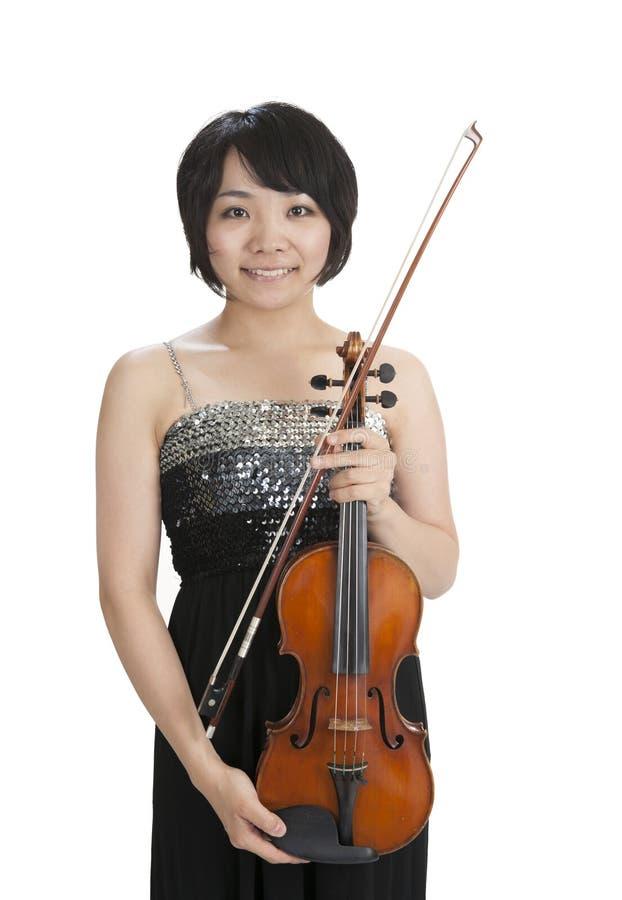 Violonist asiatico femminile immagini stock