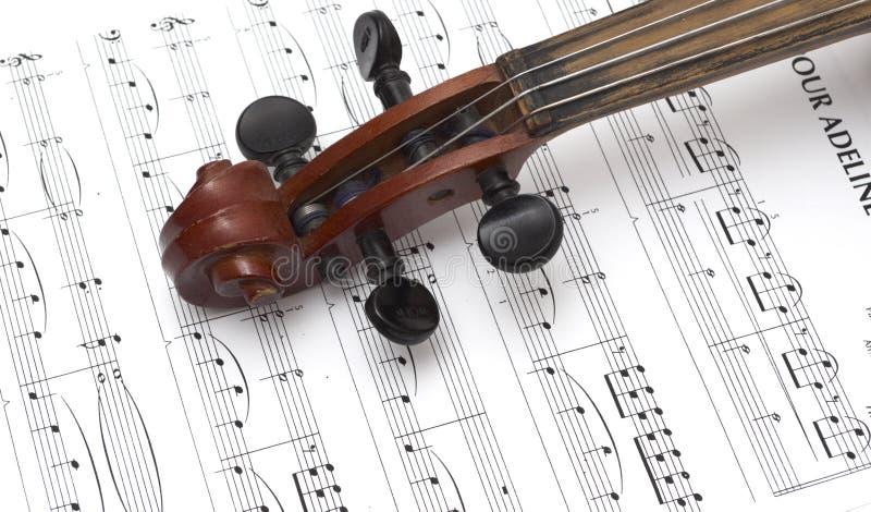Viool en muzikale score royalty-vrije stock afbeelding