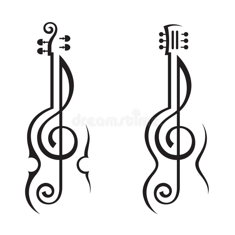 Viool, gitaar en g-sleutel stock illustratie