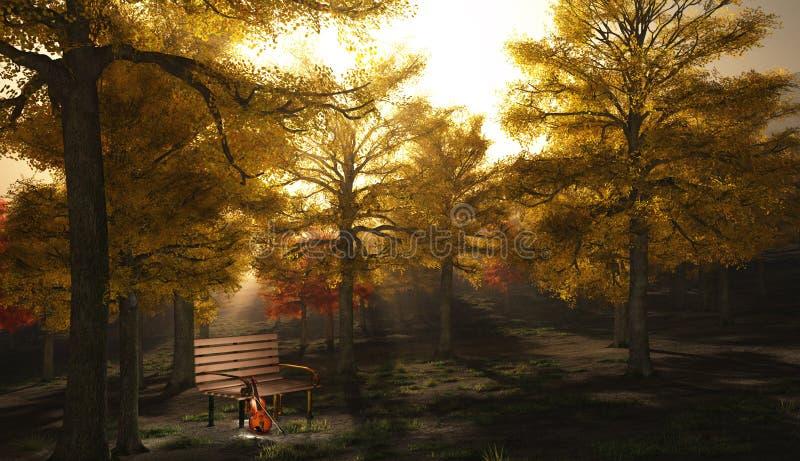 Viool in herfstpark royalty-vrije illustratie