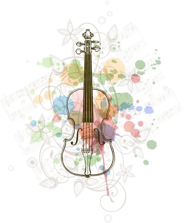 Viool, muziekbladen op de kleurenverf royalty-vrije illustratie