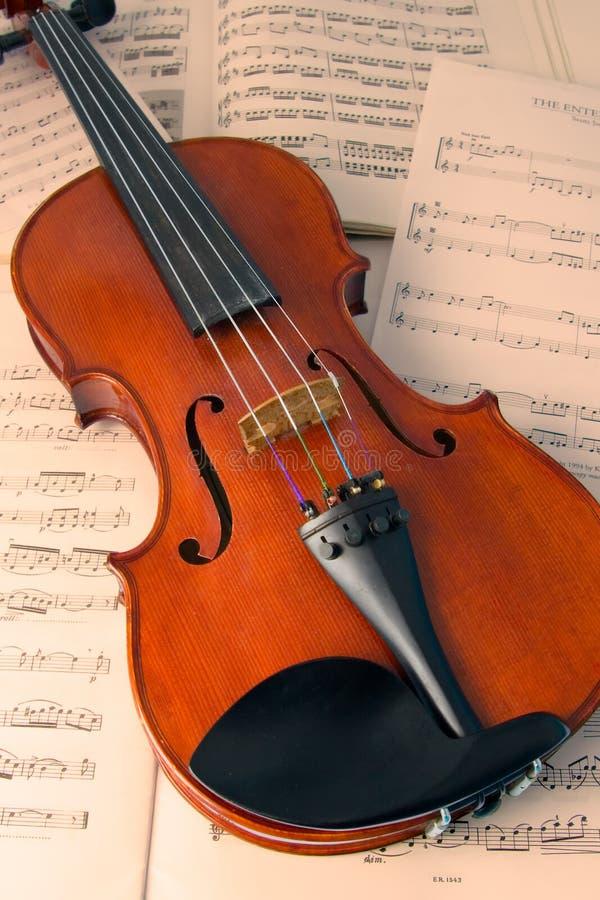Viool over muziekscores royalty-vrije stock foto