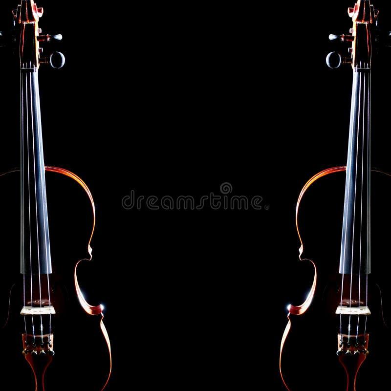 Vioolduet Twee violen stock afbeeldingen