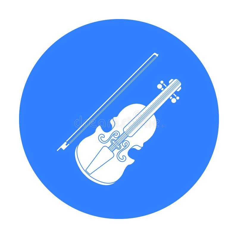 Vioolpictogram in zwarte die stijl op witte achtergrond wordt geïsoleerd Muzikale de voorraad vectorillustratie van het instrumen vector illustratie