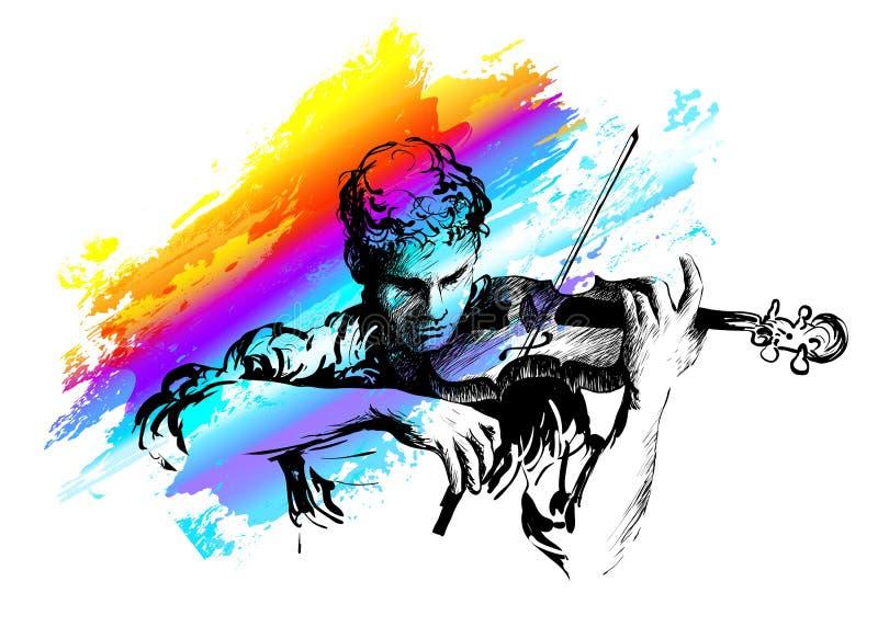 Vioolspeler Klassiek muziekoverleg hand-drawn vectorillustratie stock illustratie
