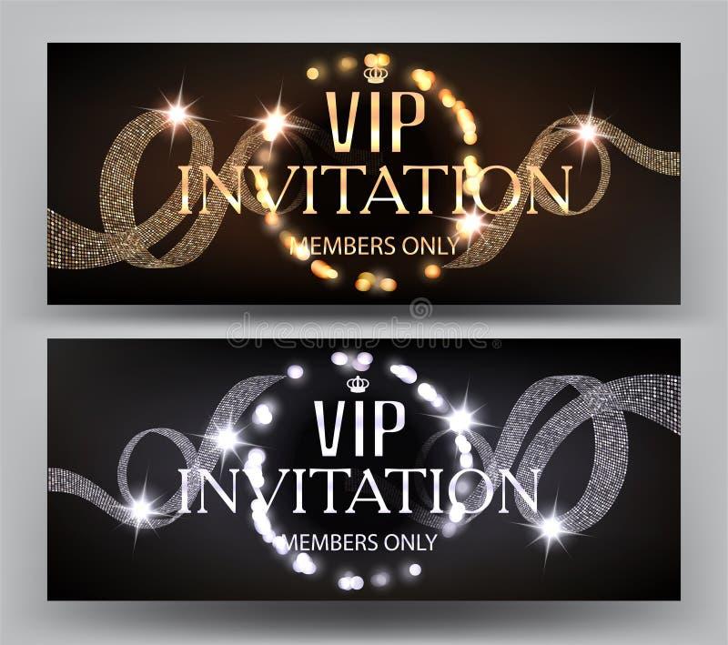 VIP与卷曲丝带和发光的轻的诗歌选框架的邀请横幅 皇族释放例证
