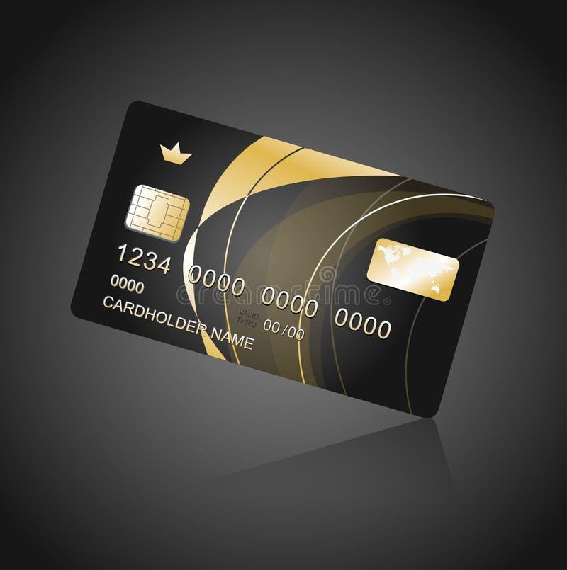 VIP卡片黑色和金子 皇族释放例证