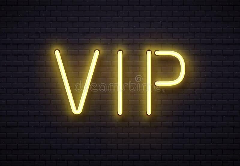 Vip霓虹灯广告 典雅的优质成员棍打,与金黄萤光氖灯灯的豪华横幅在砖墙传染媒介 向量例证