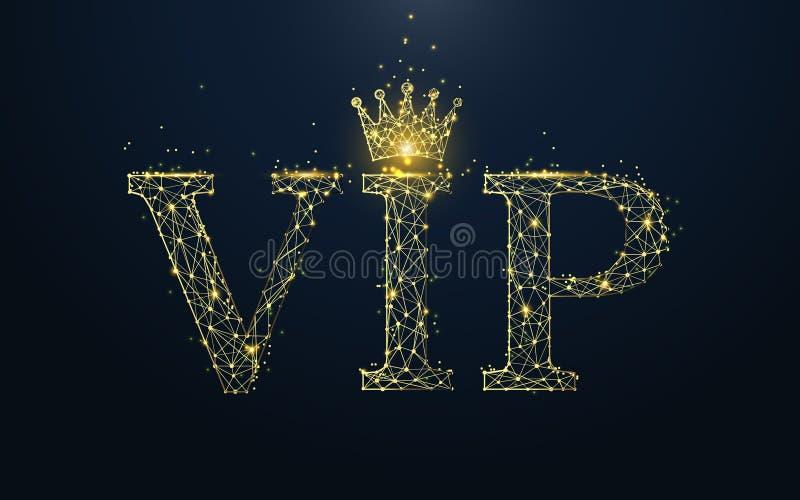 VIP εικονίδιο από τις γραμμές, τα τρίγωνα και το σχέδιο ύφους μορίων διανυσματική απεικόνιση