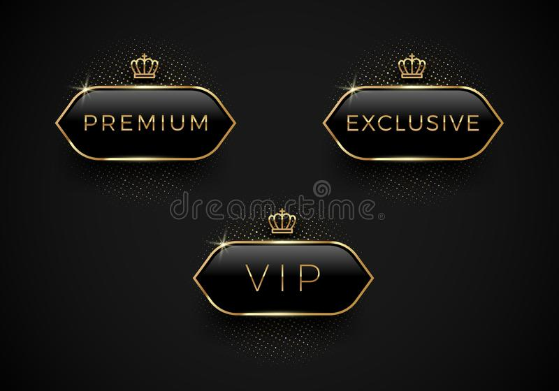 VIP, ασφάλιστρο και αποκλειστικές μαύρες ετικέτες γυαλιού με τη χρυσά κορώνα και το πλαίσιο σε ένα μαύρο υπόβαθρο Σχέδιο ασφαλίστ ελεύθερη απεικόνιση δικαιώματος