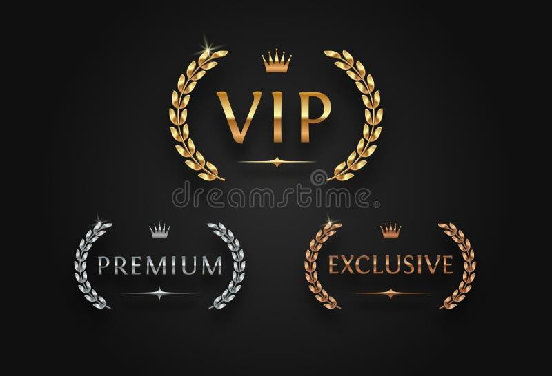 VIP, ασφάλιστρο και αποκλειστικό σημάδι με το στεφάνι δαφνών - χρυσό, ασημένιο και το χαλκό απεικόνιση αποθεμάτων