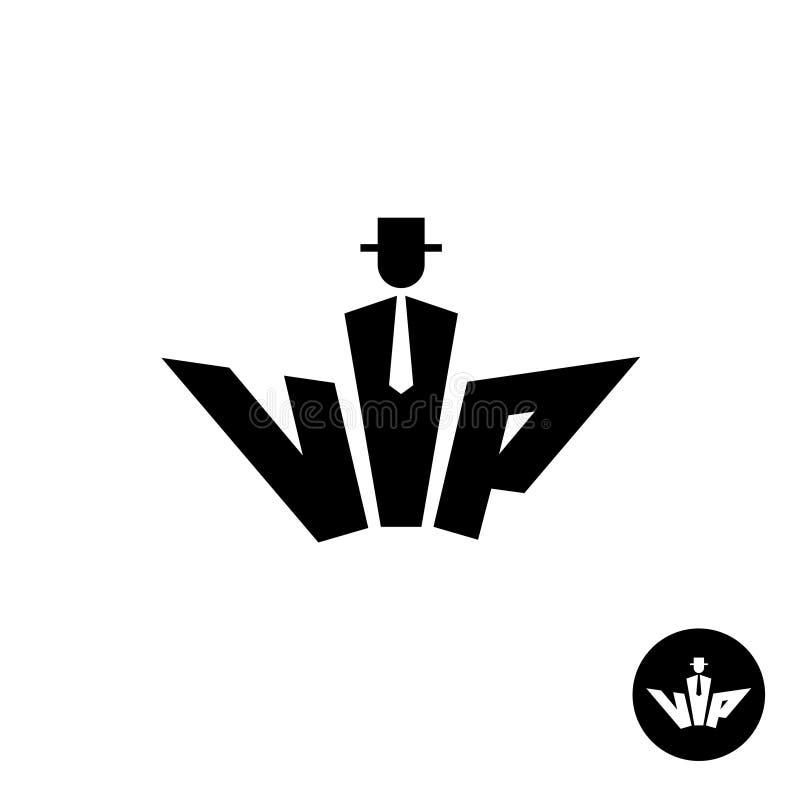 Vip помечает буквами черный логотип Силуэт джентльмена в шляпе бесплатная иллюстрация