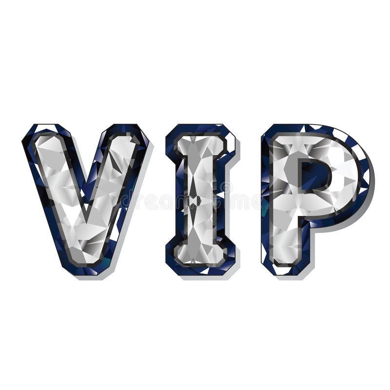 Vip. Or Very Important Person gems letter illustration isolated on white background royalty free illustration