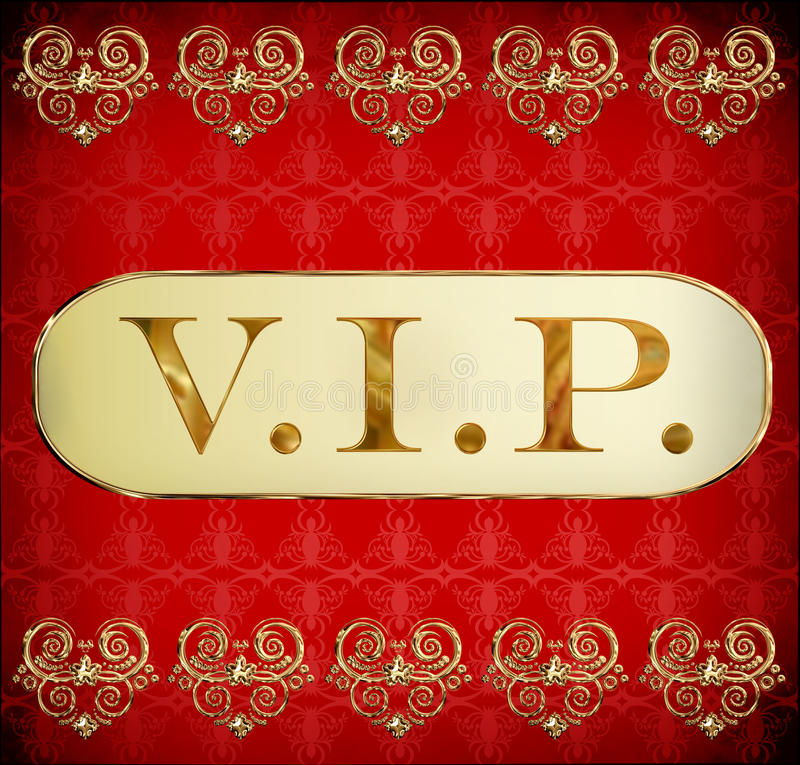 Vip. Golden card on grunge red background stock illustration