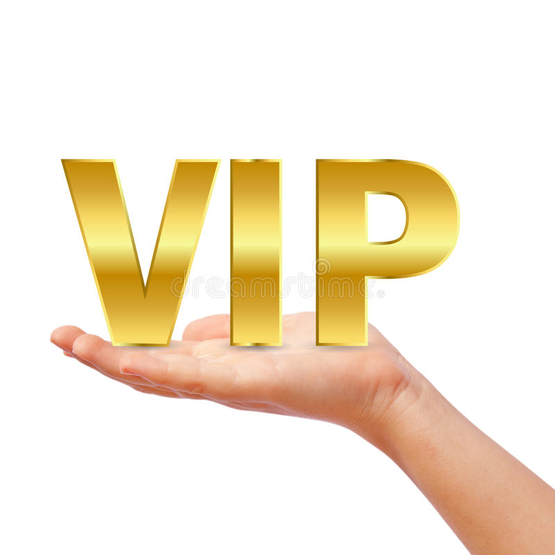 Vip. Hand with illustrated vip symbol royalty free illustration