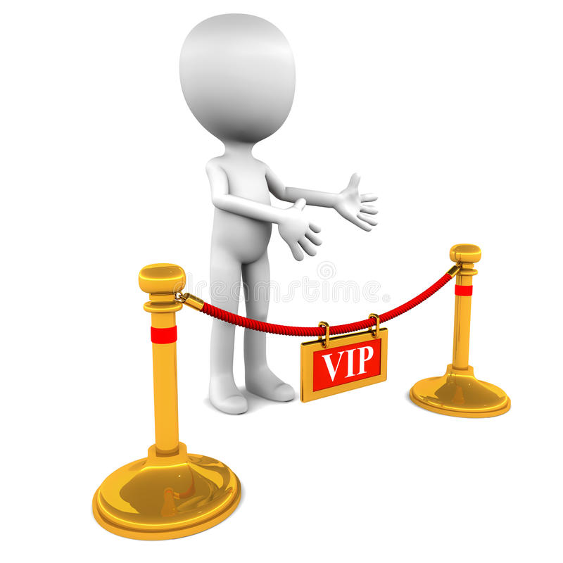 VIP. Entrance with a 3d man welcoming guests with  privileges stock illustration