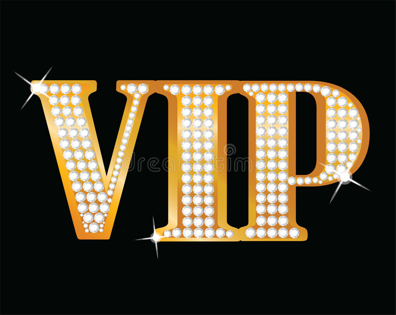 VIP. Gold letters with diamonds royalty free illustration