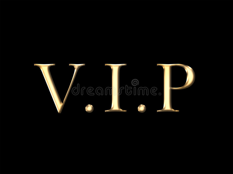 VIP. Concept. Golden letter on black background royalty free illustration
