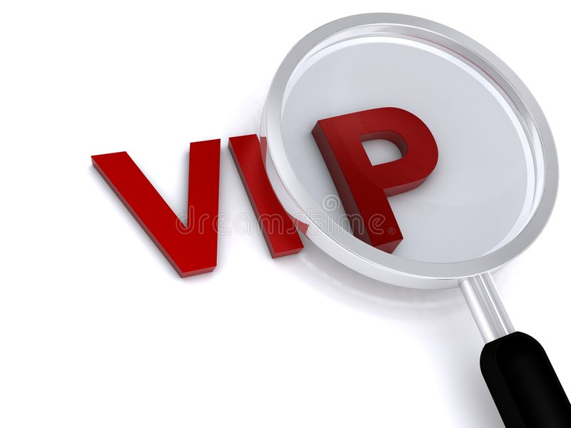 Vip. 3d vip text with magnifier on white background royalty free illustration