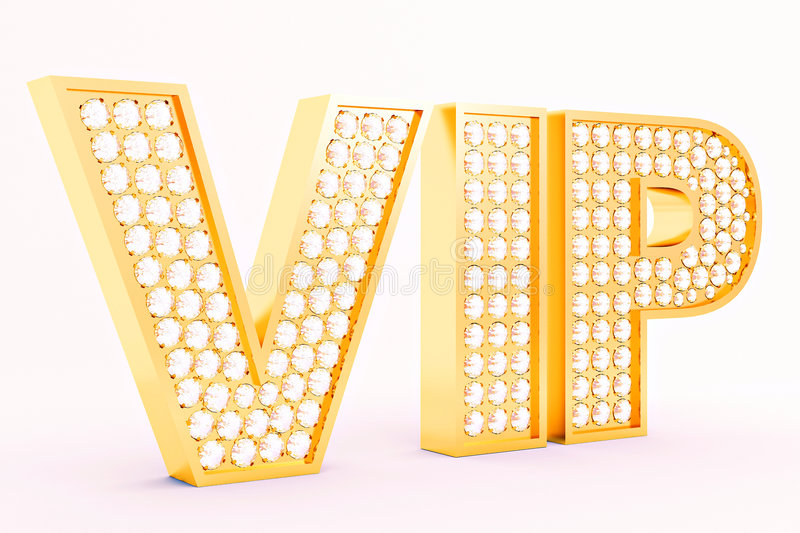 VIP. 3D gold letters with diamonds stock illustration