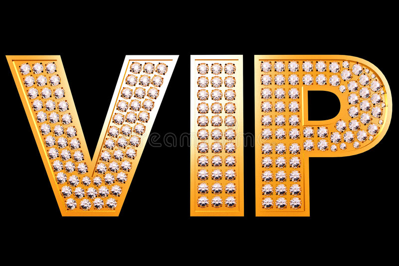 VIP. Gold letters with diamonds on black background vector illustration