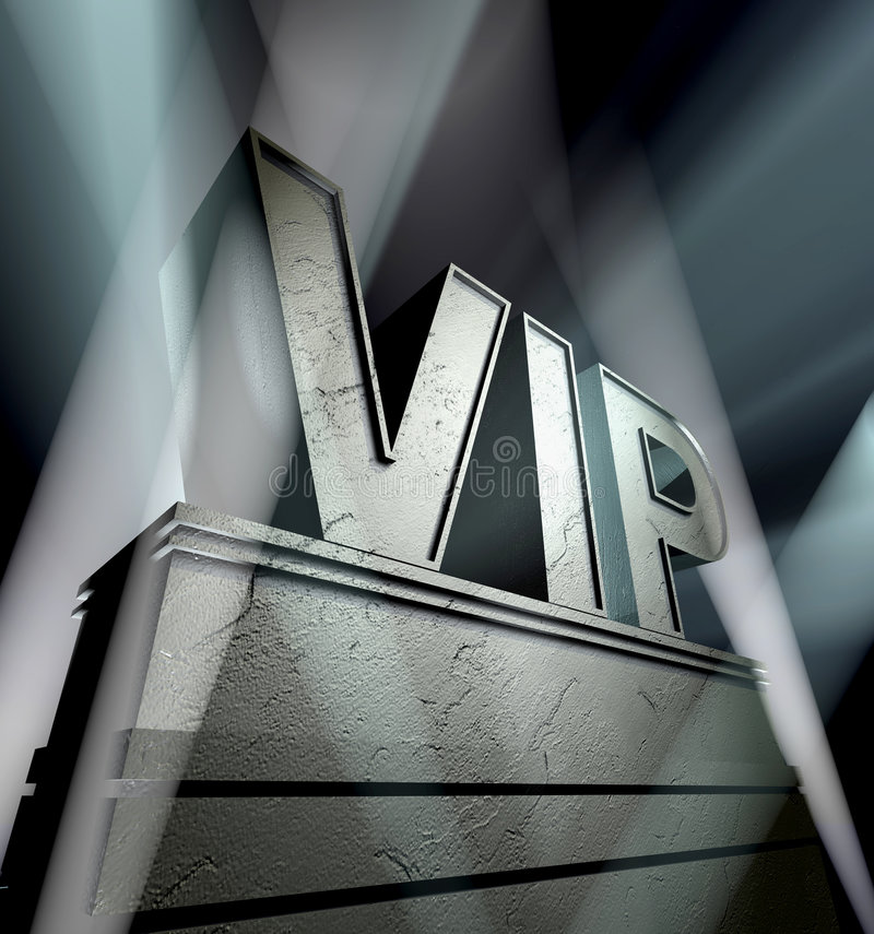 VIP. In silver letters on a silver pedestal with ornaments in sunbeams stock illustration