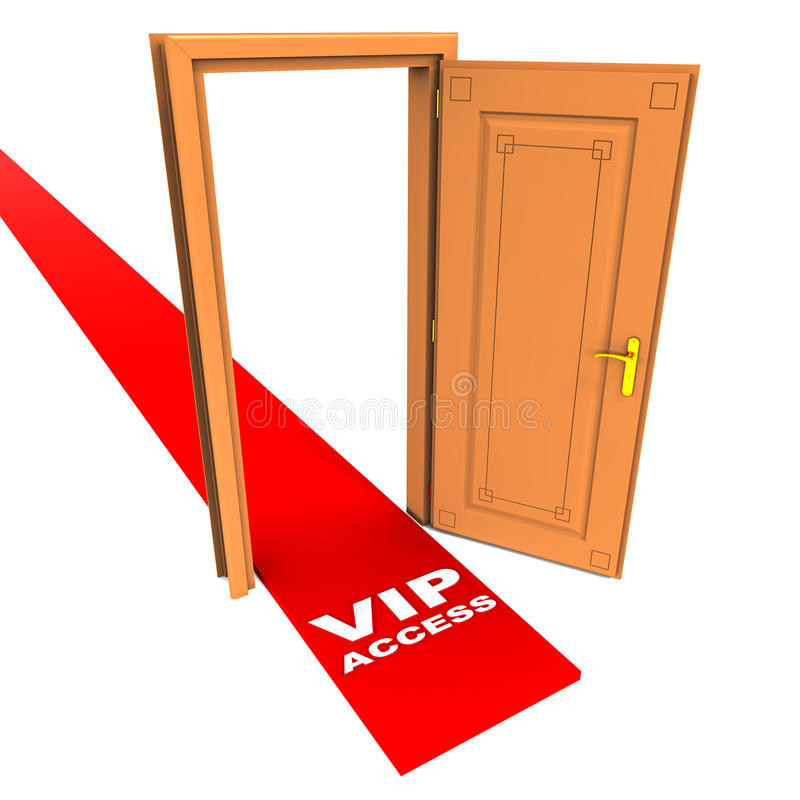 Vip access. Open door with red carpet rolling out for VIP access, special privileged customers concept stock illustration