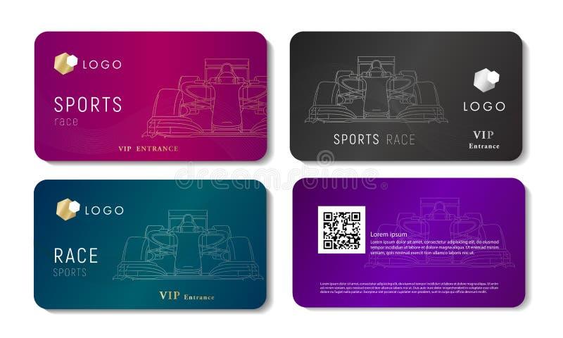 Vip adreskaartje met de lineaire illustratie van de rassportwagen royalty-vrije illustratie