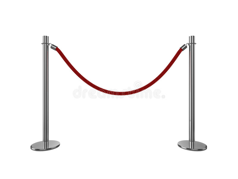 VIP area. High quality 3d illustration of a VIP area rope barrier, isolated on a white background royalty free illustration