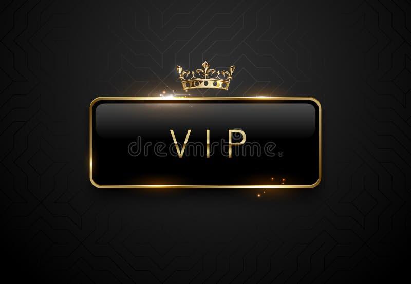 Vip black label with golden frame sparks and crown on black background. Dark premium template. Vector illustration. Vip black label with golden frame sparks and royalty free illustration