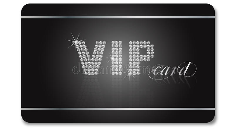 VIP card. Black and silver VIP car with diamonds isolated on the white background stock illustration