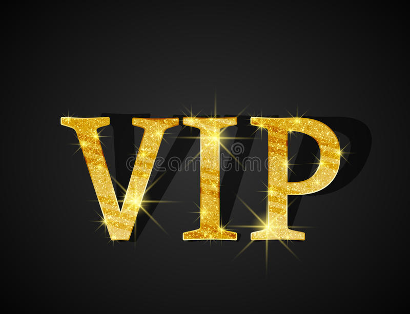 Vip card. Black background of golden text VIP vector illustration